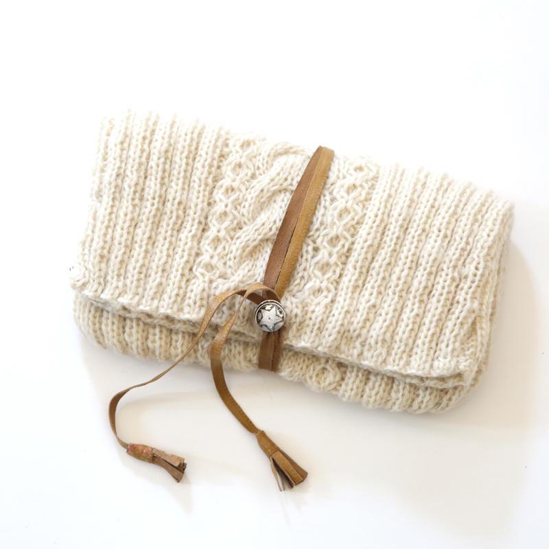 ウールニット/クラッチバッグ/手編み/1648128