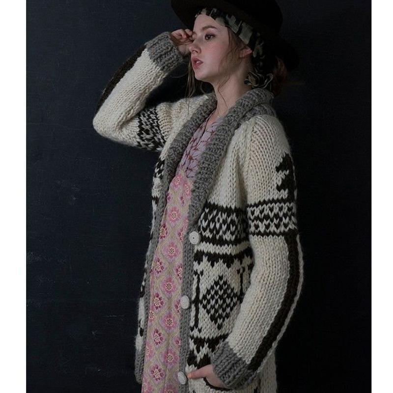 #1847036 AZTEK柄 カウチンニット WOOL 100% 手編み