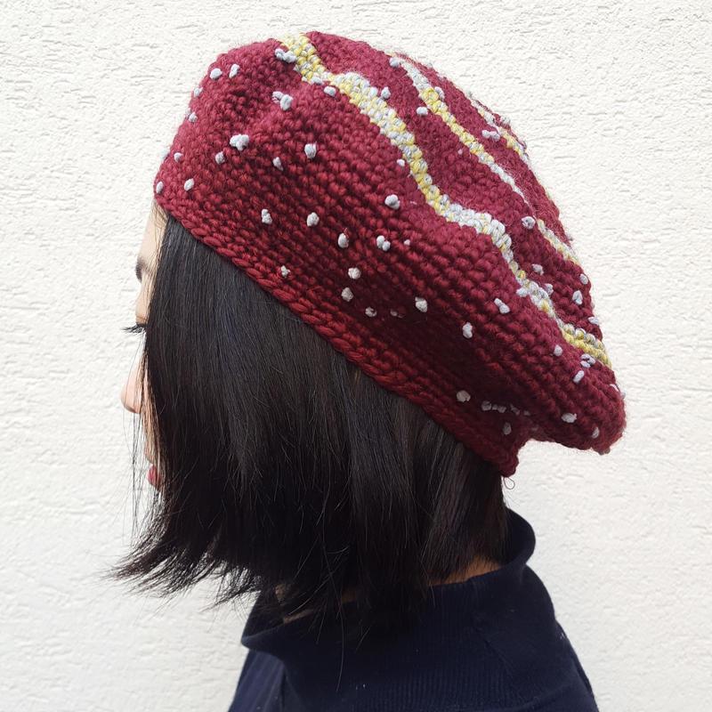 切り替えベレー帽(おとな)BORDEAUX