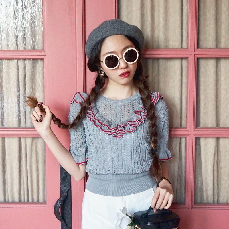 select frill knit tops