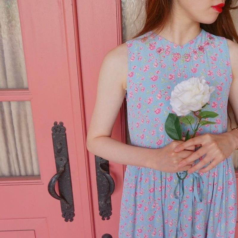 vintage rose flair one-piece