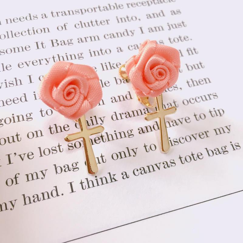 handmade rose gold earrings (cross)