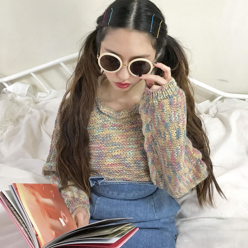 vintage mix color high neck knit