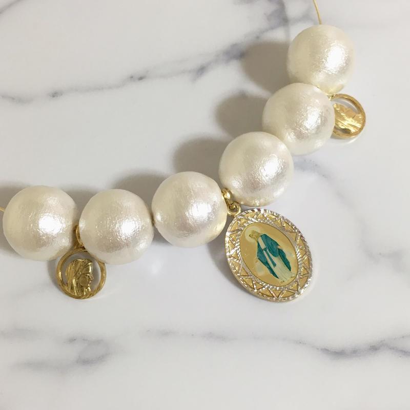 handmade christ charm big cotton pearl choker