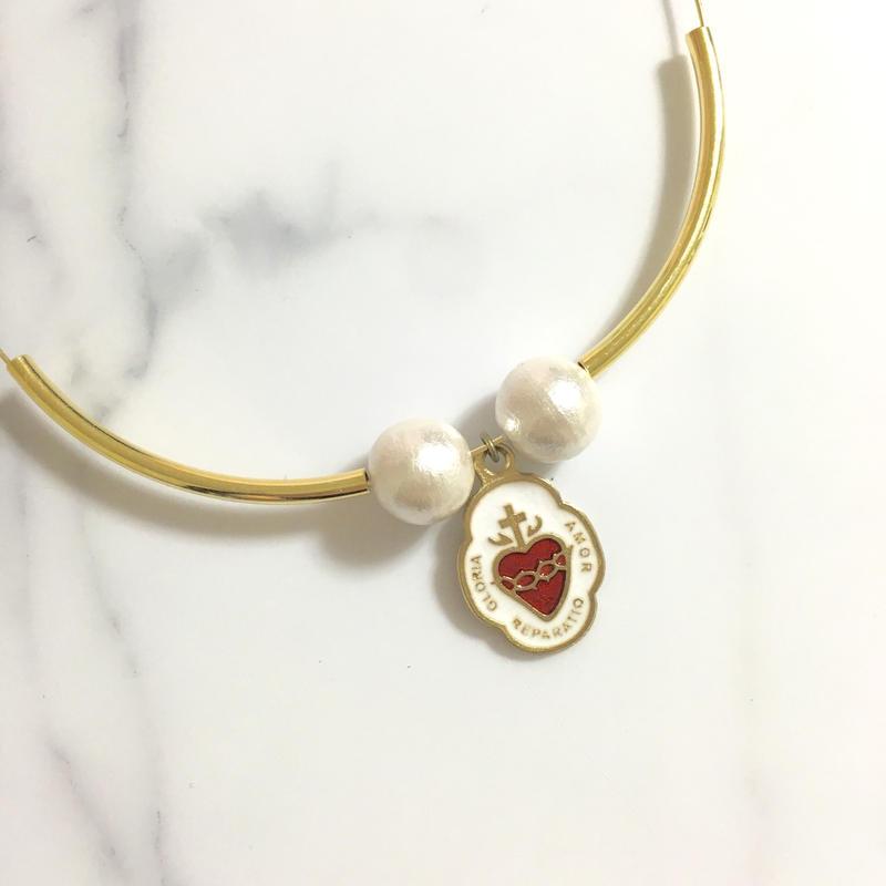 handmade cross heart charm choker