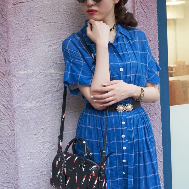 vintage check one-piece