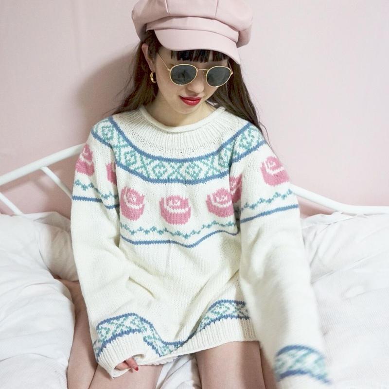vintage pastel color rose knit