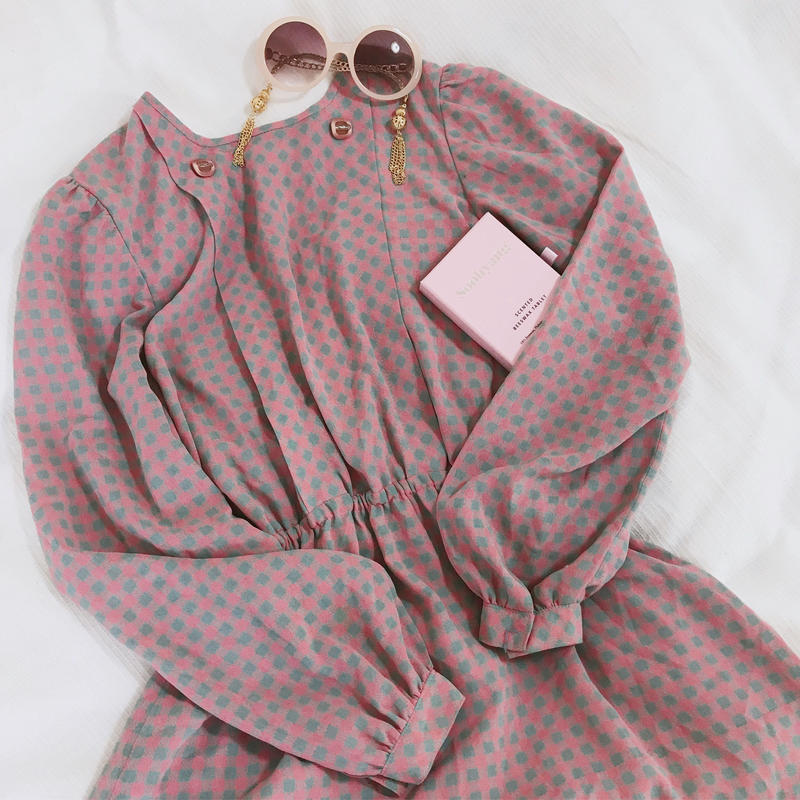 vintage checked candy color  one-piece