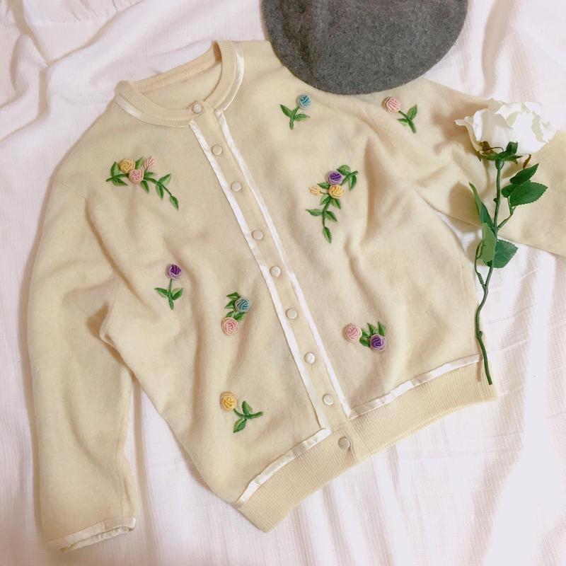 vintage  rose  knit cardigan
