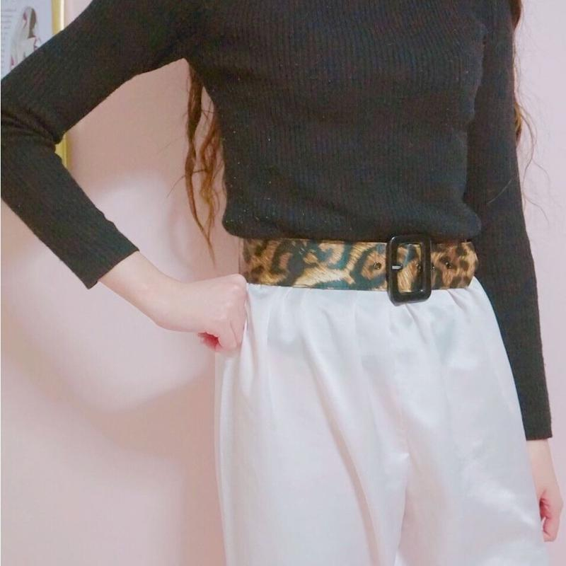vintage leopard satin belt
