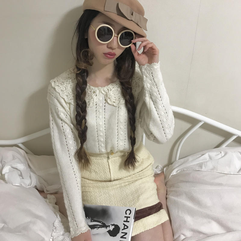 vintage round collar  knit