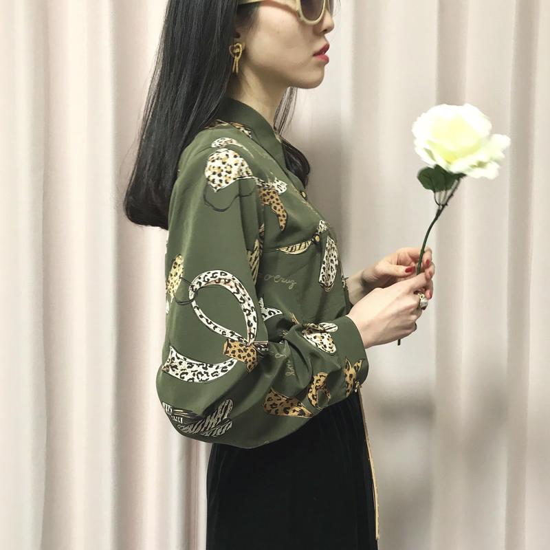vintage leopard pattern blouse