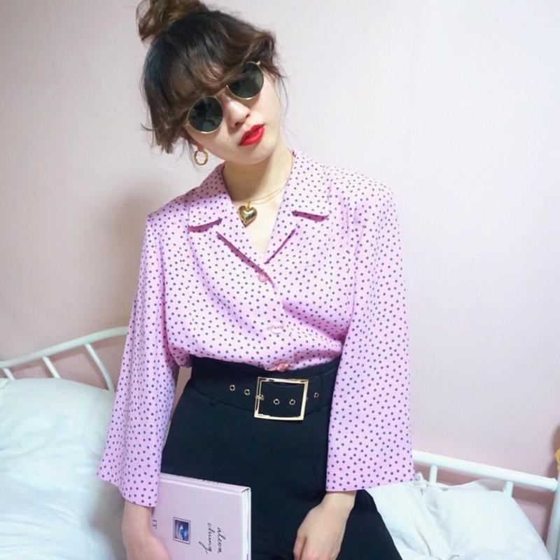 vintage dot  blouse jacket