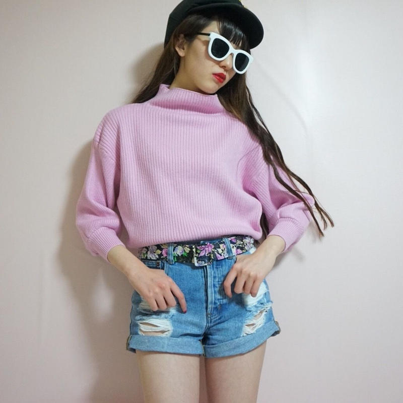 select candy pink puff sleeve knit tops