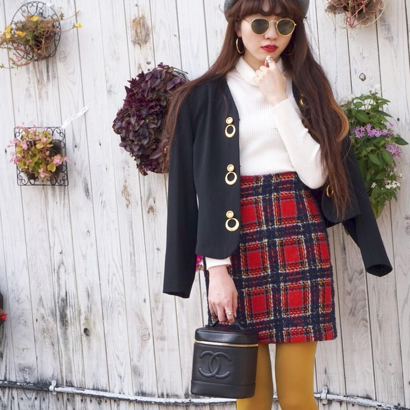 vintage checked tweed skirt
