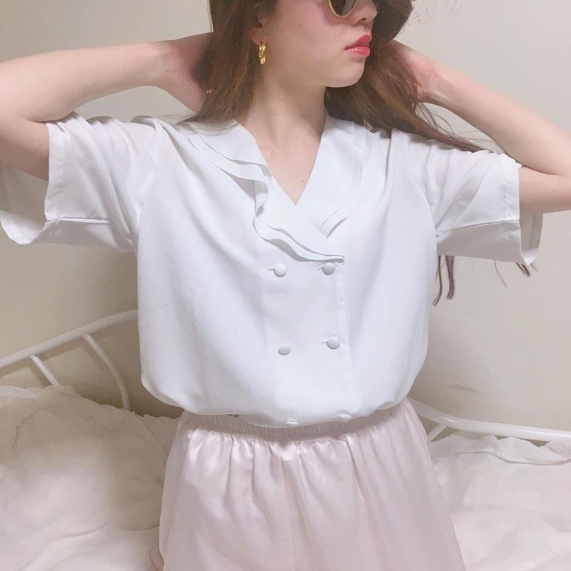 vintage double botton frill blouse