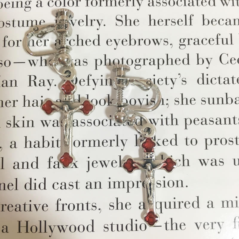 handmade cross charm earrings