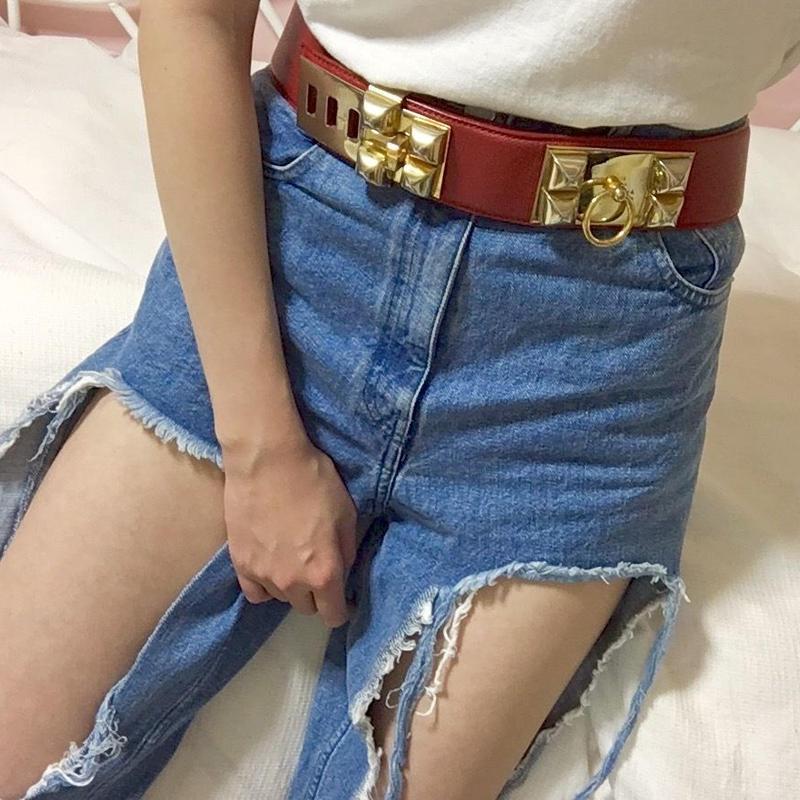 vintage HERMES collier chien belt red