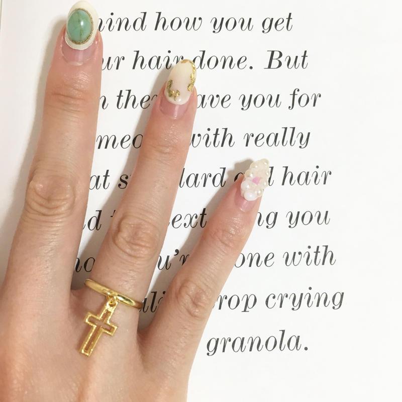 handmade cross charm ring