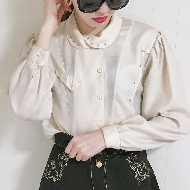 vintage  round collar linestone blouse