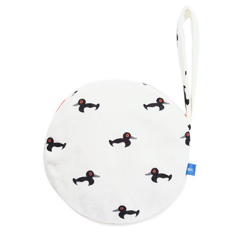 満月ポーチ[ウール] 冬鴨(白)
