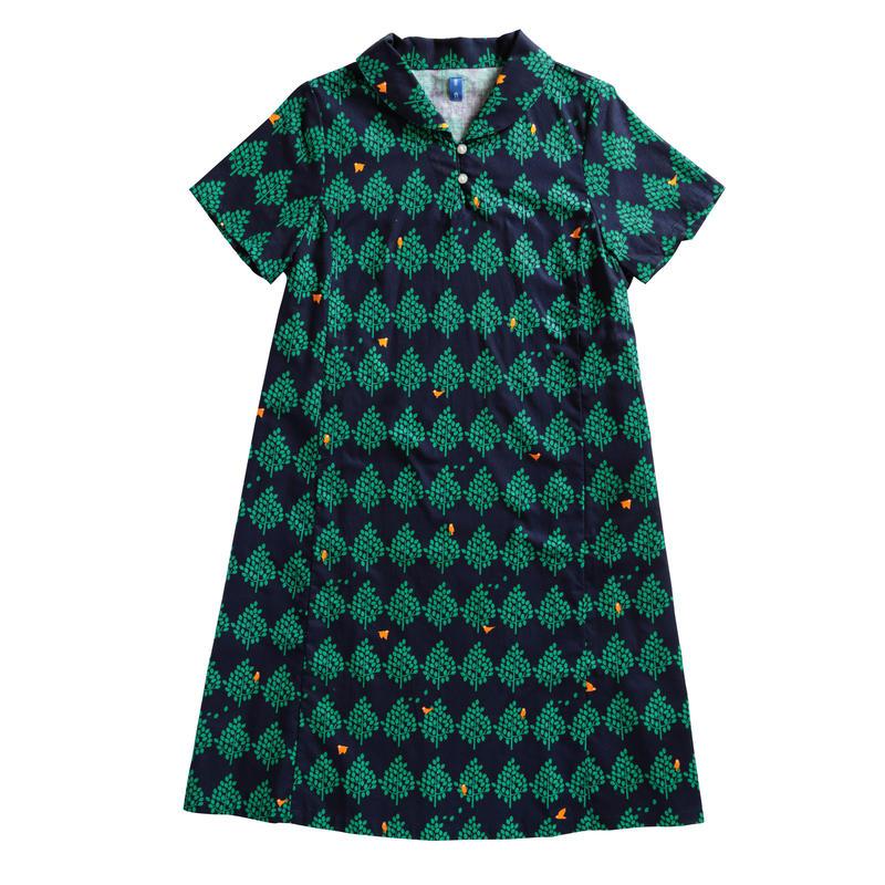 衿付き半袖ワンピース 森とムクドリ
