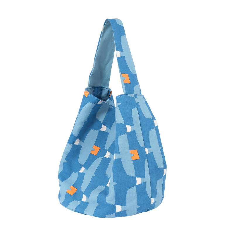 満月底バッグ とんびに油揚げ(青)