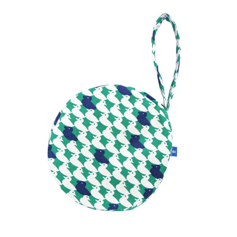 満月ポーチ 鴨(緑)