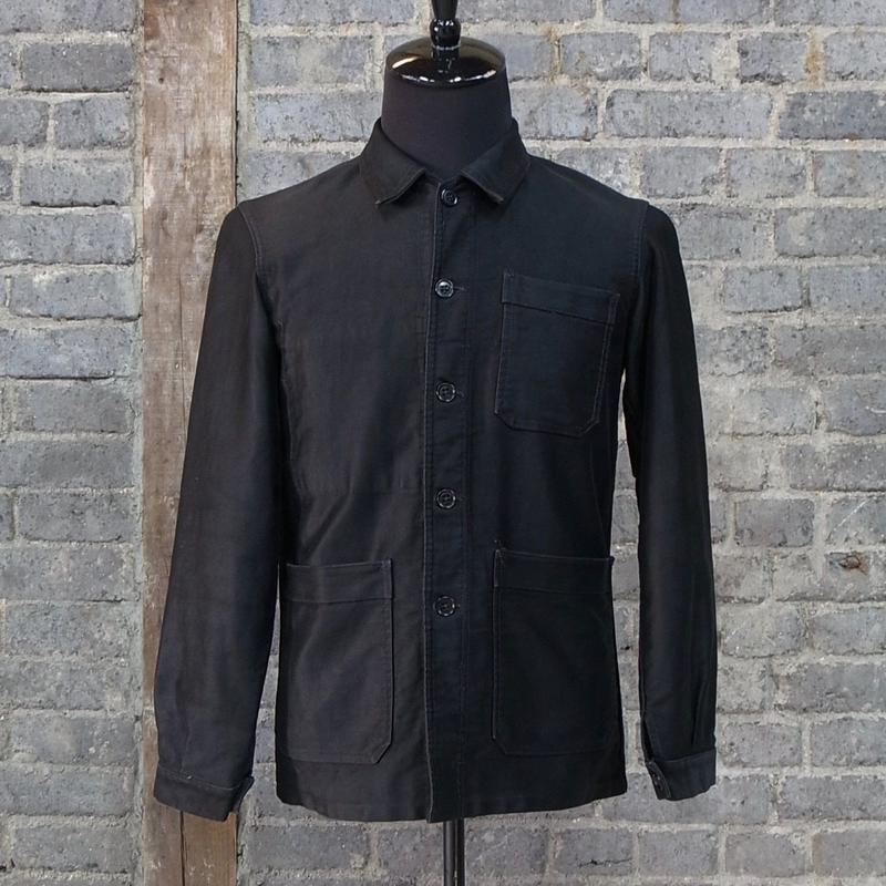 "mid 20th c. ""vulcain"" french vintage black moleskin work jacket"