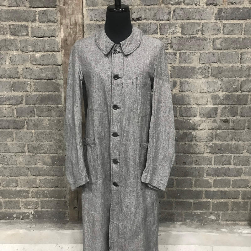 "early 20th c. french salt&pepper military cotton duster coat "" deadstock"""