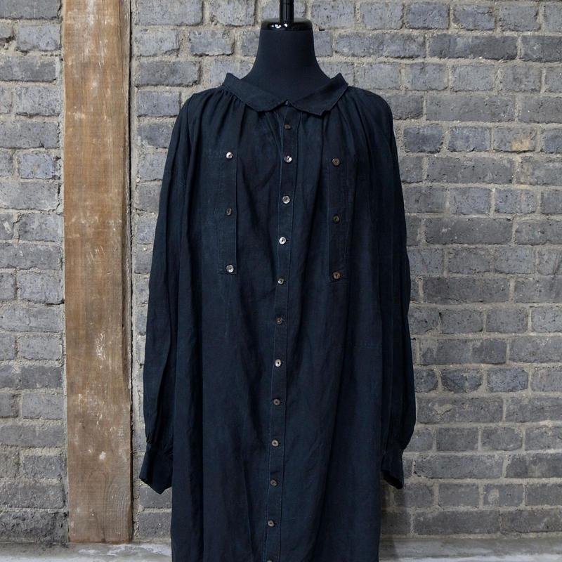 late 19th c. french  black indigo linen maquignon work coat
