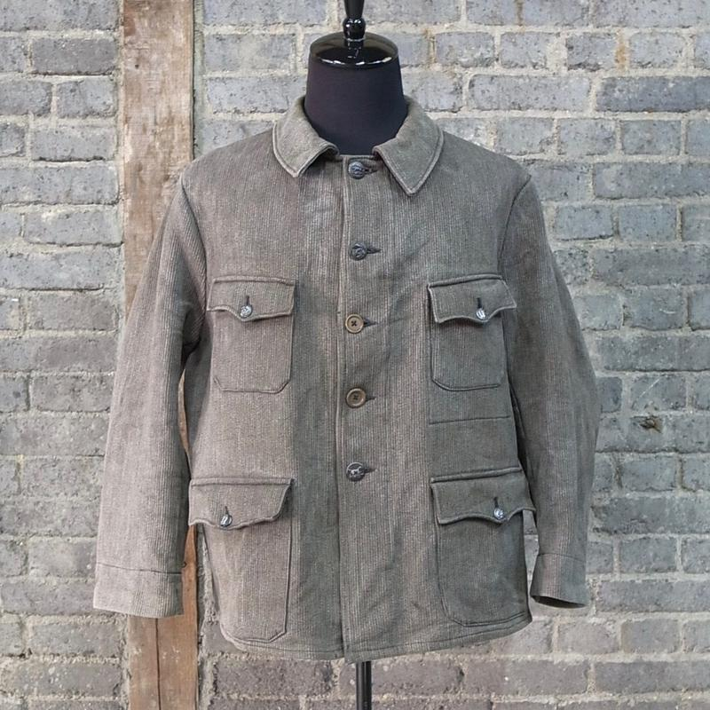 "mid 20th c. french vintage cotton pique hunting jacket  ""solt & pepper"""