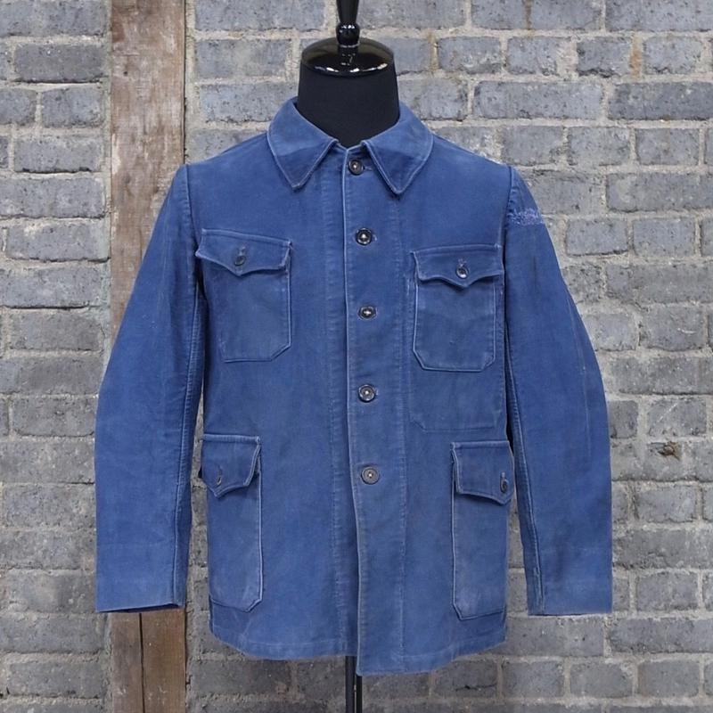 "mid 20th c.  french vintage cotton work jacket ""manufacture a.day 140 gain st. martin paris"""