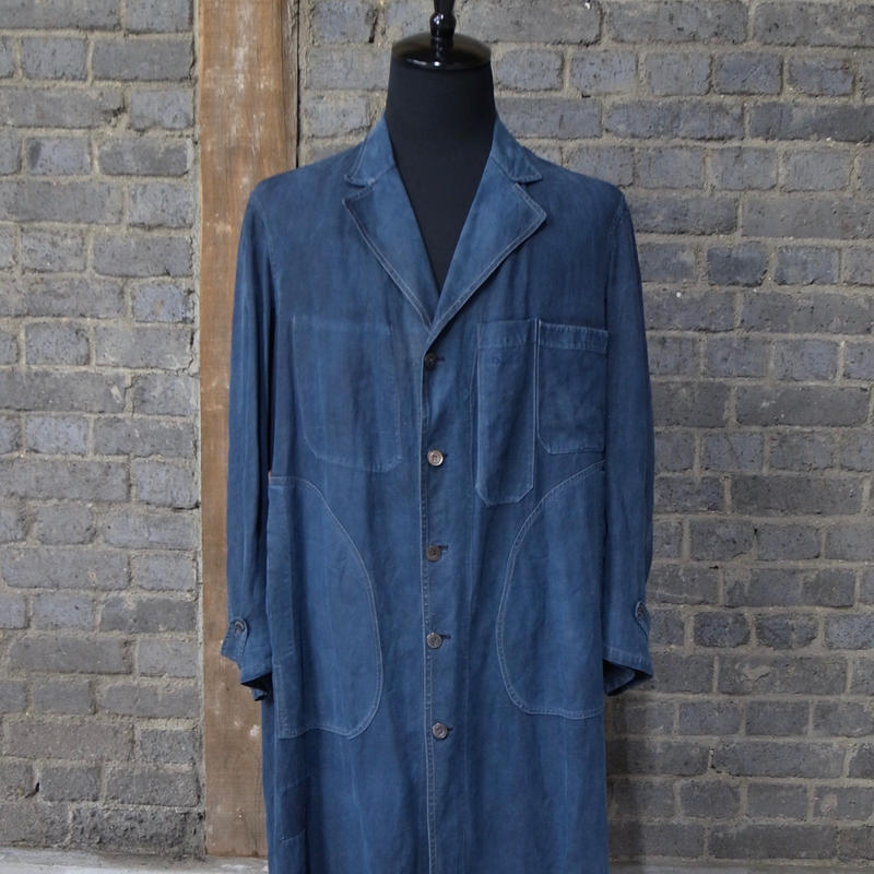 "late 19th c. - 1900's french indigo linen atrie  atelier work coat  ""artpiece"""