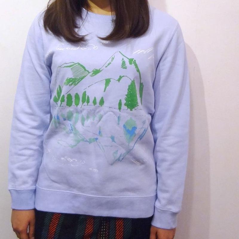 【在庫限り】水鏡スウェット Water sky blue 水色×グリーン