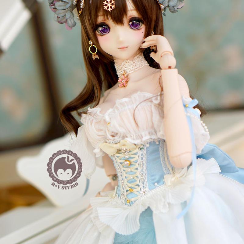 DD,1/3サイズ ドルフィードリーム 洋服 プリンセス お花のドレスセット(ブルー)