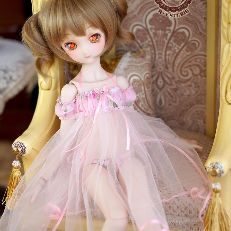 MDD ドール Dollfie Dream ネグりジェワンピース(花柄ピンク)