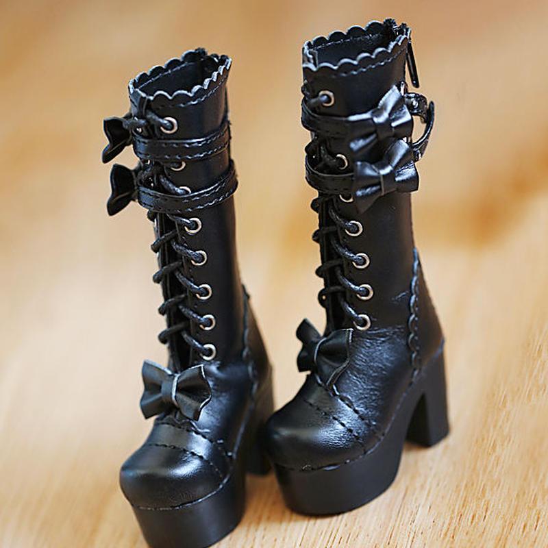 DD ドルフィードリーム靴 リボン ロングブーツ(ブラック)