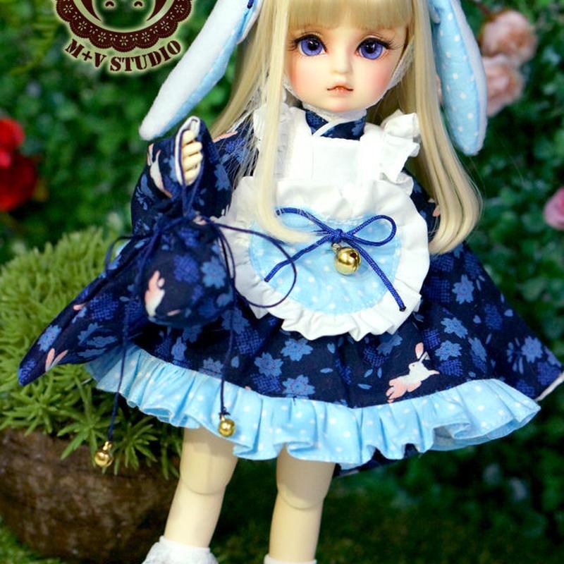 MDD MSD ミニドルフィードリーム服 ウサギの和服セット(ブルー)