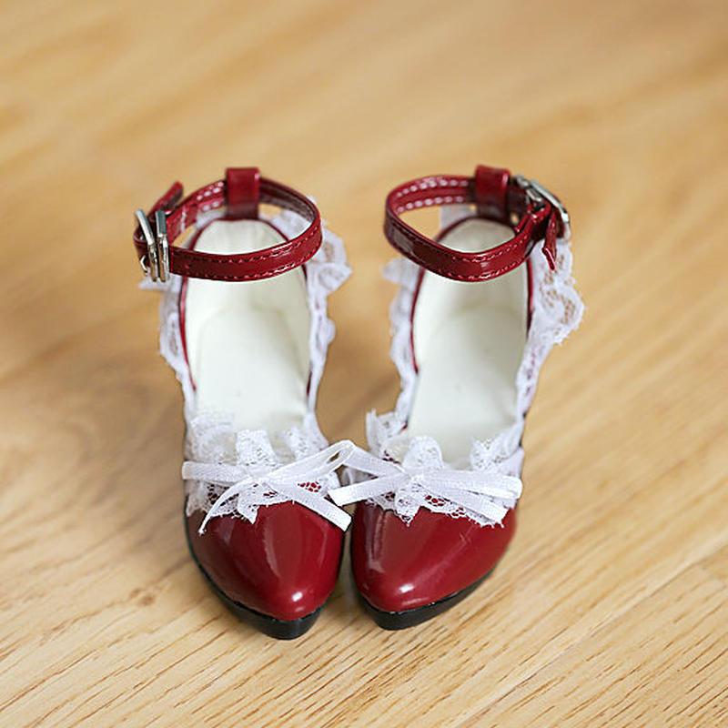 DDサイズ ドール靴 ドルフィードリーム レース 赤 パンプス