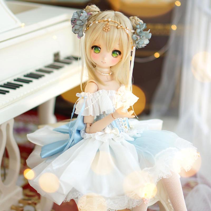 MDDミニドルフィードリーム 洋服 プリンセス お花のドレスセット(ブルー)