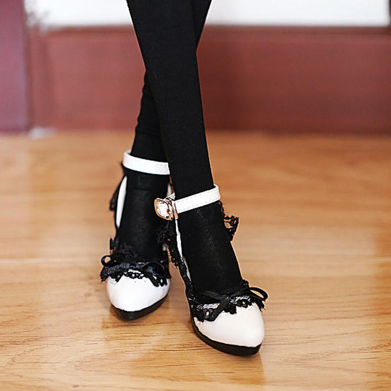 DD靴 ドルフィードリーム レース 白 パンプス