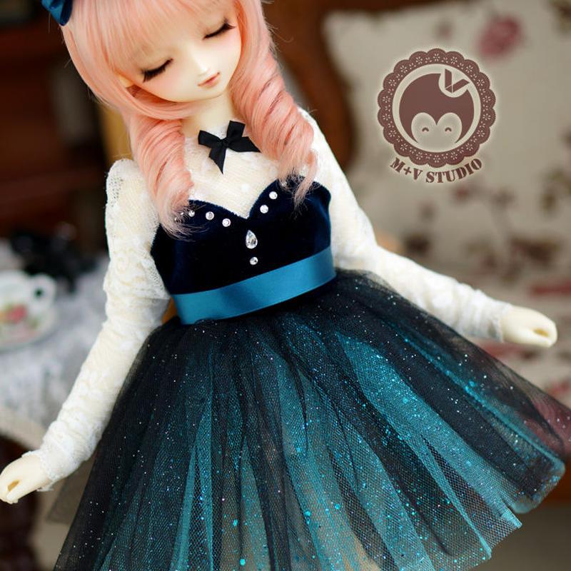 DDドレス ドルフィードリーム洋服 ベルベットドレス(ブルー)