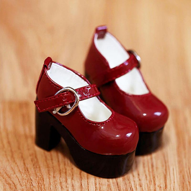MDD ドール靴 ミニドルフィードリーム 厚底 ヒールパンプス(レッド)