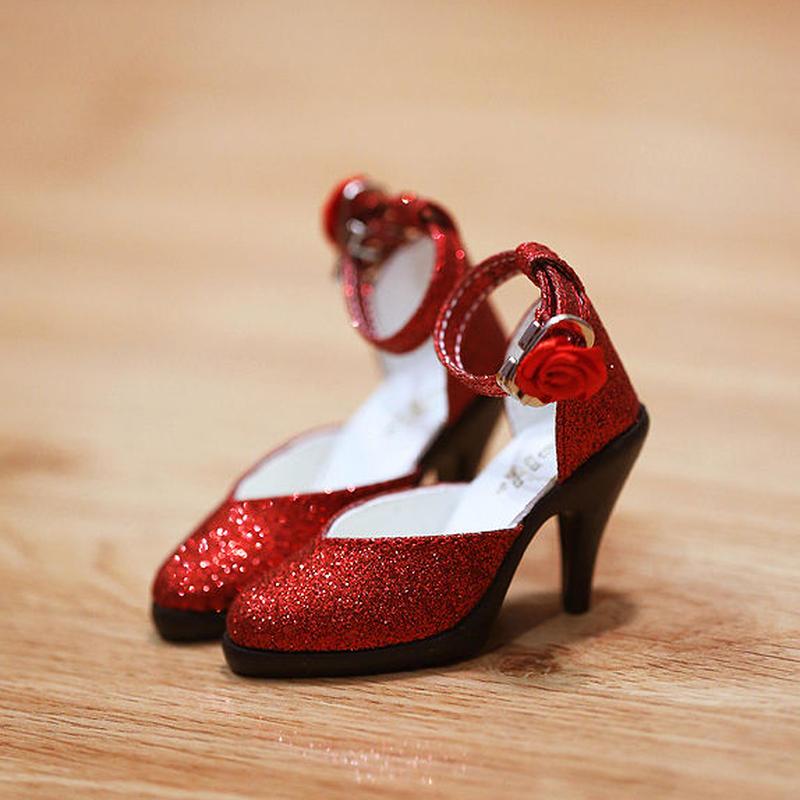 DD ドール靴 Dollfie Dream ラメパンプス(レッド)