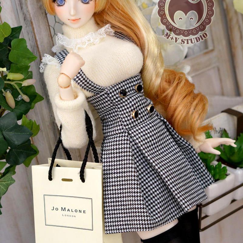 DD/DY/1/3 ドルフィードリーム洋服 サスペンダースカートセット(ホワイト)
