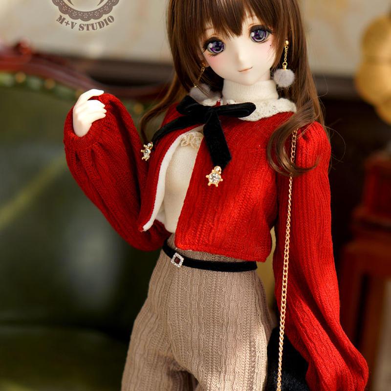 DD,SDサイズ ドール衣装 ドルフィードリーム 春のお出かけ洋服セット(レッド)