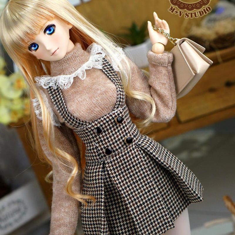 DD/DY/1/3 ドルフィードリーム洋服 サスペンダースカートセット(ブラウン)