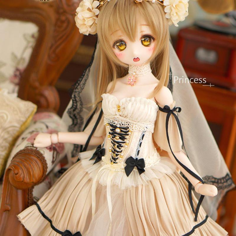 MDDサイズ ドルフィードリーム服 プリンセスドール お花のドレス