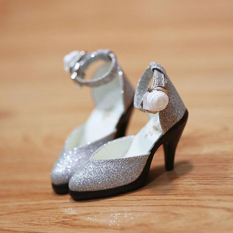 DD ドール靴 Dollfie Dream ラメパンプス(シルバー)